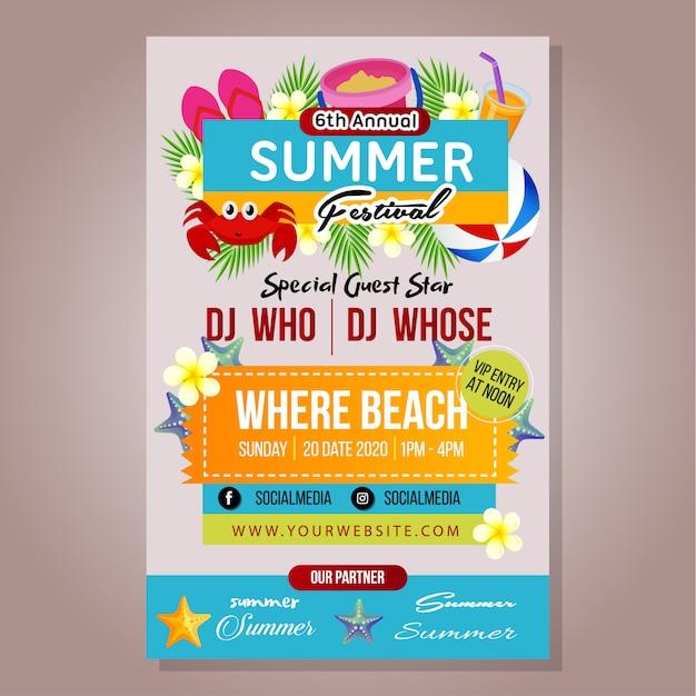 Modelo de festival de verão poster com jogo de praia Vetor Premium