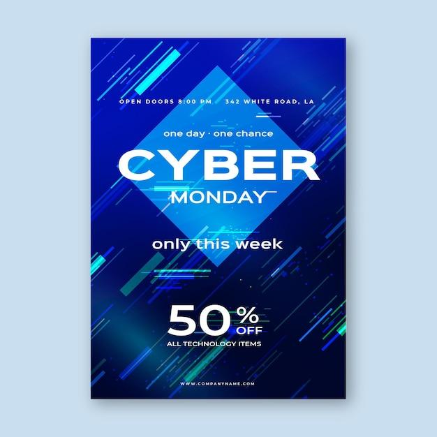 Modelo de flyer de cyber monday com efeito de falha Vetor Premium
