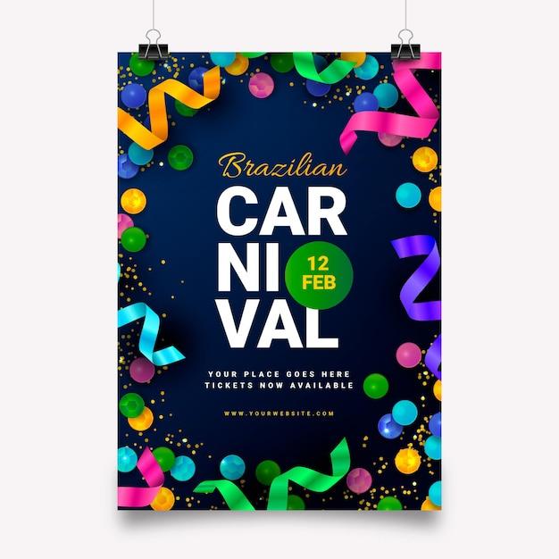 Modelo de flyer para carnaval brasileiro em design plano Vetor grátis