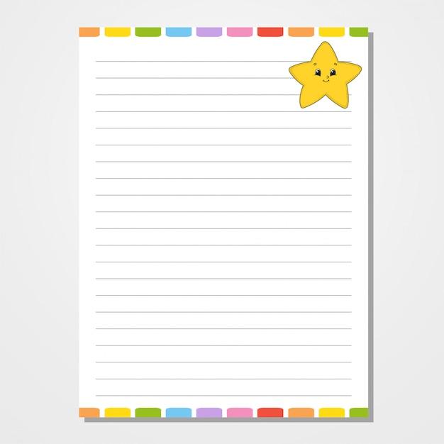 Modelo de folha para notebook, bloco de notas, diário. Vetor Premium