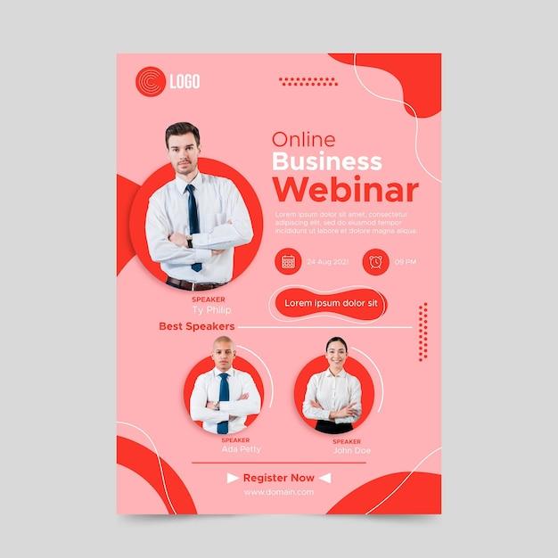 Modelo de folheto a5 de webinar de plano de negócios Vetor Premium