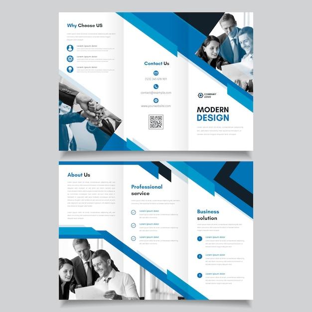 Modelo de folheto abstrato com três dobras com foto Vetor Premium