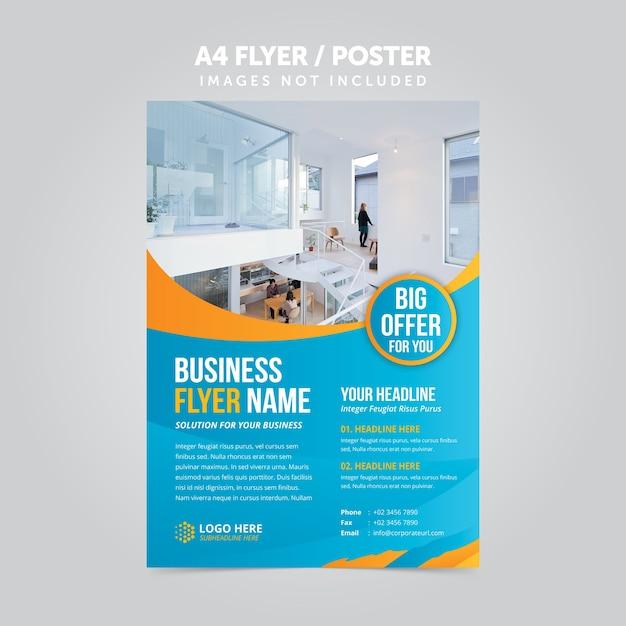 Modelo de folheto abstrato negócios mulripurpose a4 flyer Vetor Premium