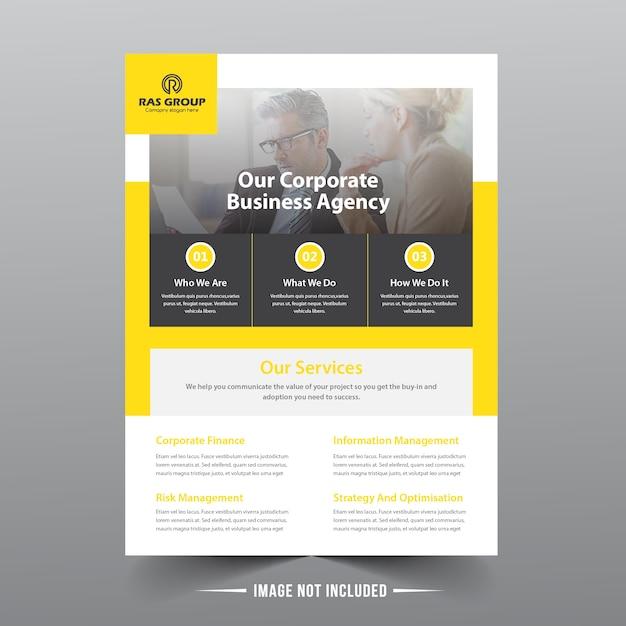 Modelo de folheto amarelo de negócios Vetor Premium