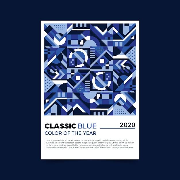 Modelo de folheto azul clássico abstrato Vetor grátis