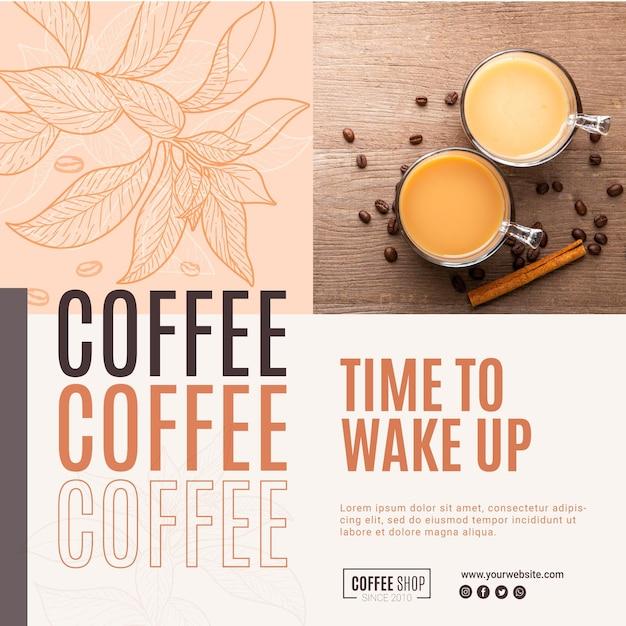 Modelo de folheto - café Vetor Premium