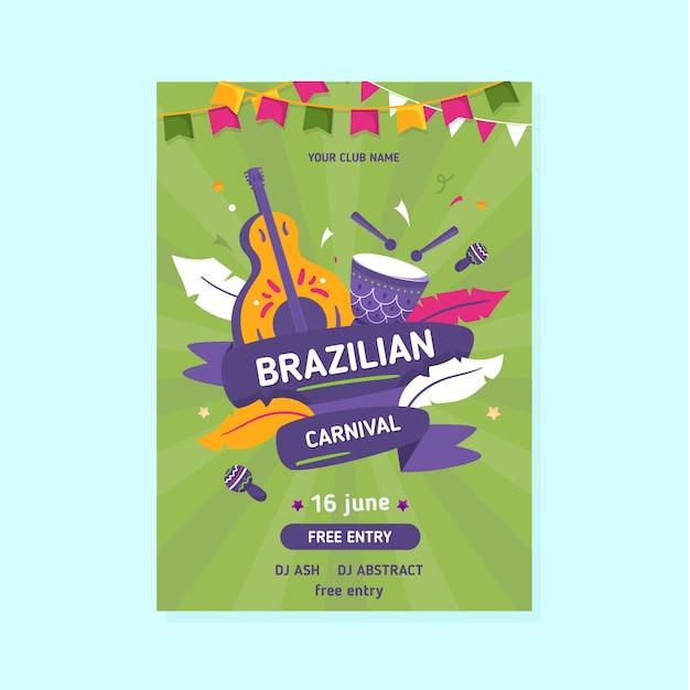 Modelo de folheto - carnaval brasileiro Vetor grátis