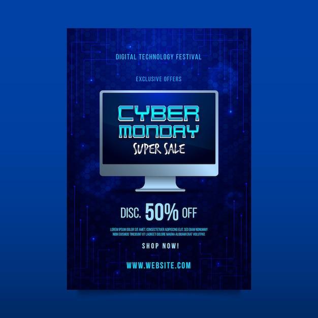 Modelo de folheto cibernético realista Vetor grátis