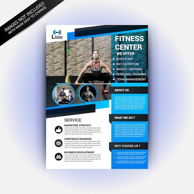 Modelo de folheto - clube de ginástica fitness Vetor Premium