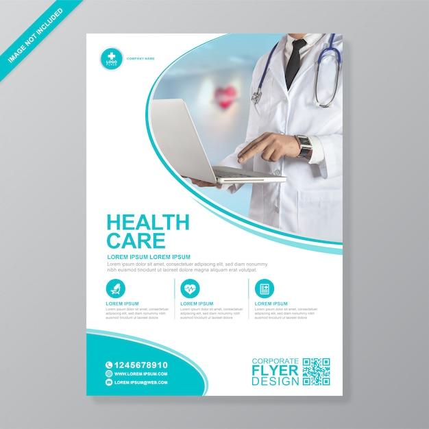 Modelo de folheto - cobertura médica e saúde corporativa a4 Vetor Premium