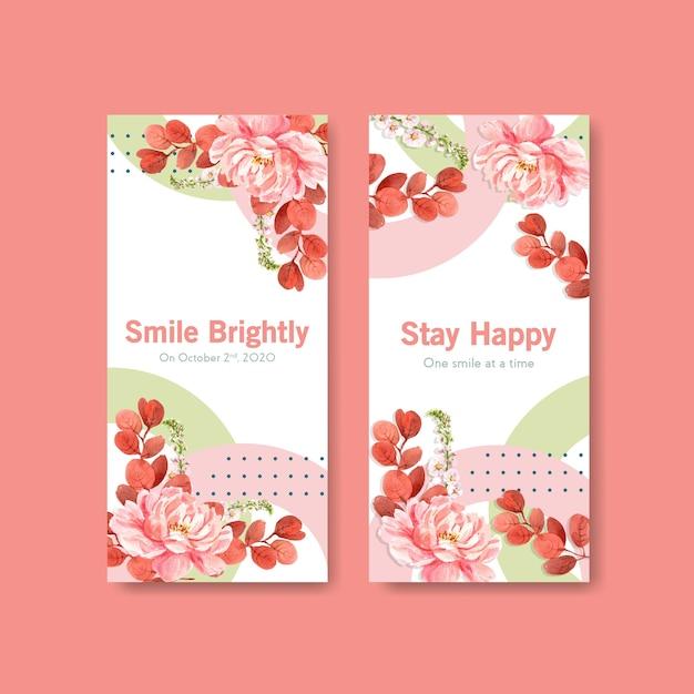 Modelo de folheto com design de buquê de flores para o conceito de dia do sorriso mundial para folheto e marketing ilustração vetorial aquarela. Vetor grátis