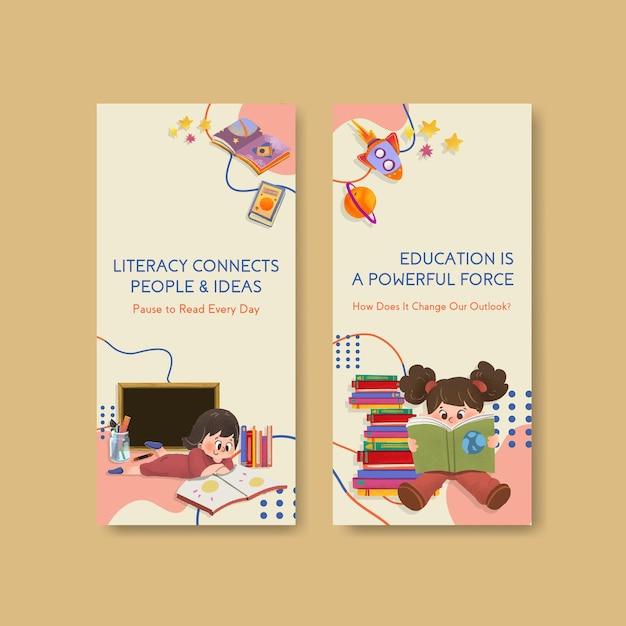 Modelo de folheto com design de conceito de dia internacional da alfabetização para brochura e folheto em aquarela. Vetor grátis