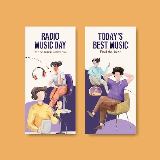 Modelo de folheto com design de conceito de dia mundial do rádio para ilustração em aquarela de brochura e folheto Vetor grátis