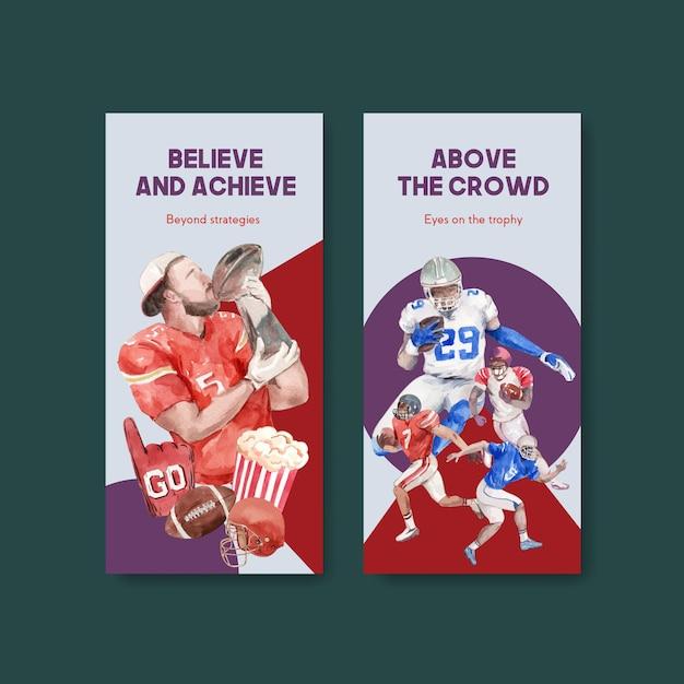Modelo de folheto com design de conceito de esporte super bowl para brochura e folheto ilustração vetorial aquarela. Vetor grátis