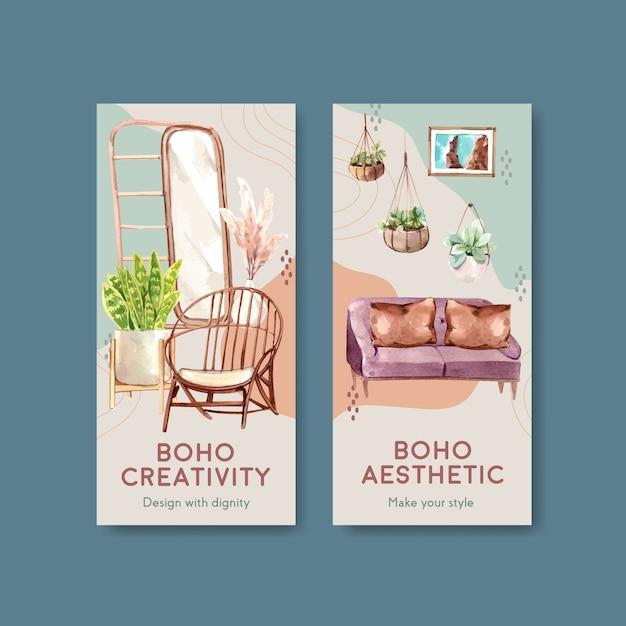 Modelo de folheto com design de conceito de móveis boho para brochura e folheto ilustração em aquarela Vetor grátis