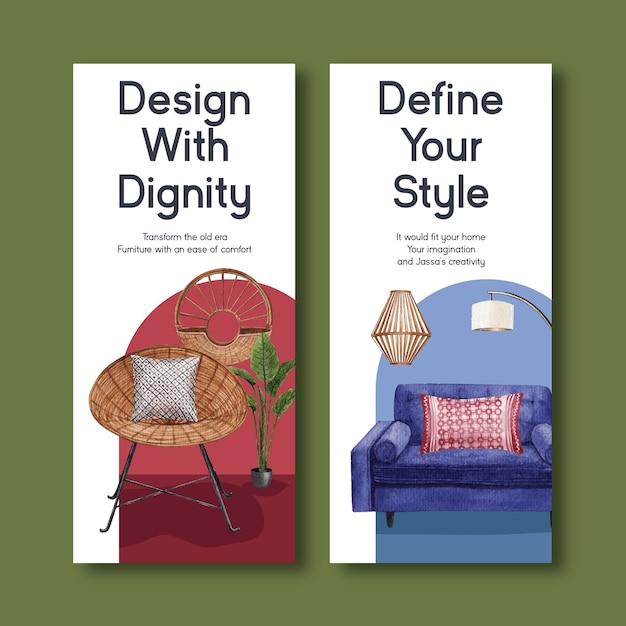 Modelo de folheto com design de conceito de móveis jassa para ilustração vetorial aquarela folheto e folheto Vetor grátis