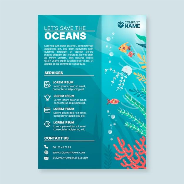Modelo de folheto com elementos oceanos Vetor grátis