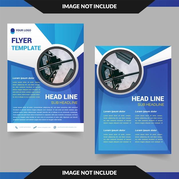 Modelo de folheto com linha ondulada e círculo Vetor Premium