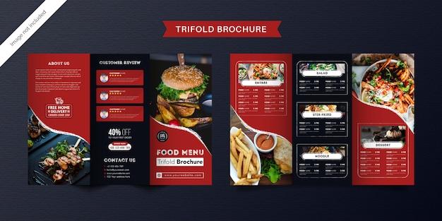 Modelo de folheto com três dobras de comida. brochura de menu fast-food para restaurante com cor azul vermelha e escura. Vetor Premium