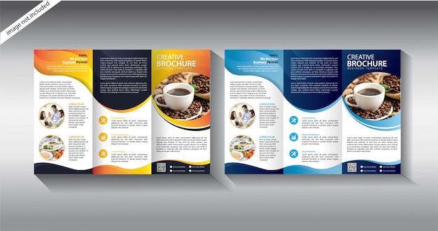 Modelo de folheto com três dobras para folheto de layout Vetor Premium