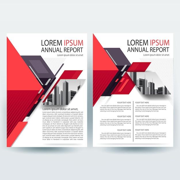 Modelo de folheto comercial com geométrica vermelha e magenta Vetor grátis