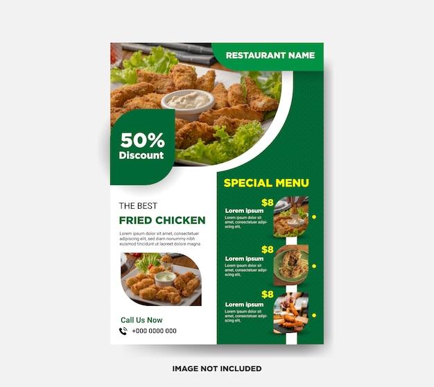 Modelo de folheto - comida de frango frito Vetor Premium