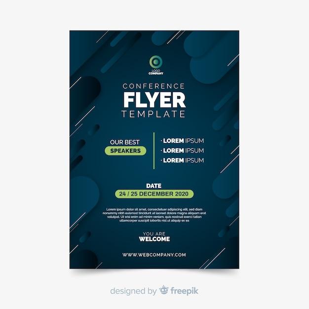 Modelo de folheto - conferência plana minimalista Vetor Premium