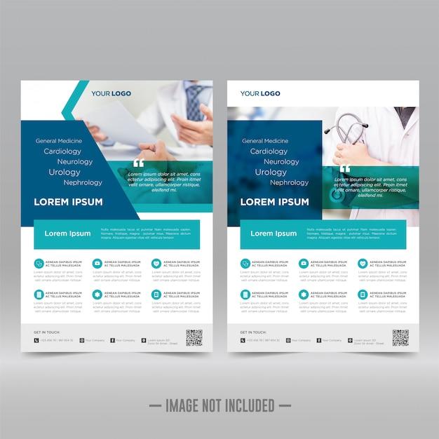 Modelo de folheto - cuidados de saúde e médicos Vetor Premium