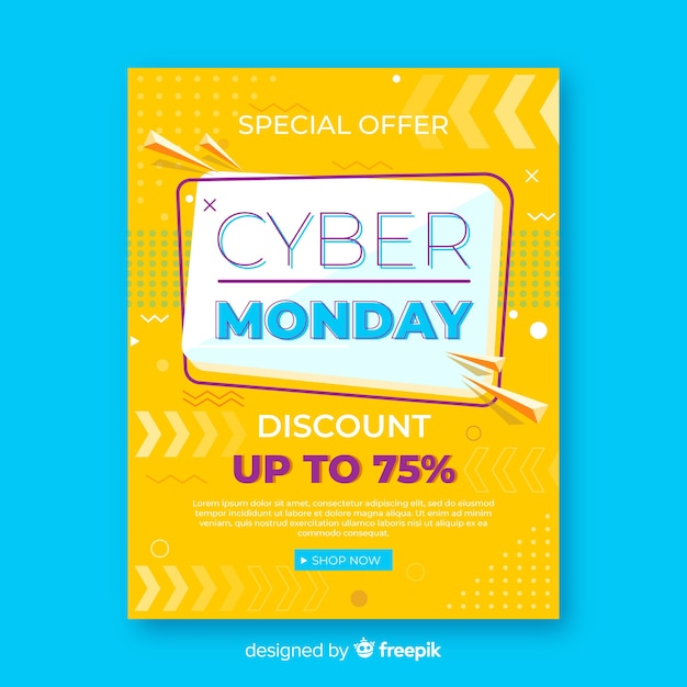 Modelo de folheto cyber segunda-feira com design plano Vetor grátis