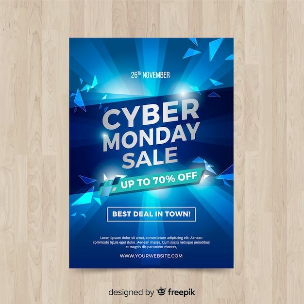 Modelo de folheto cyber segunda-feira com design realista Vetor grátis