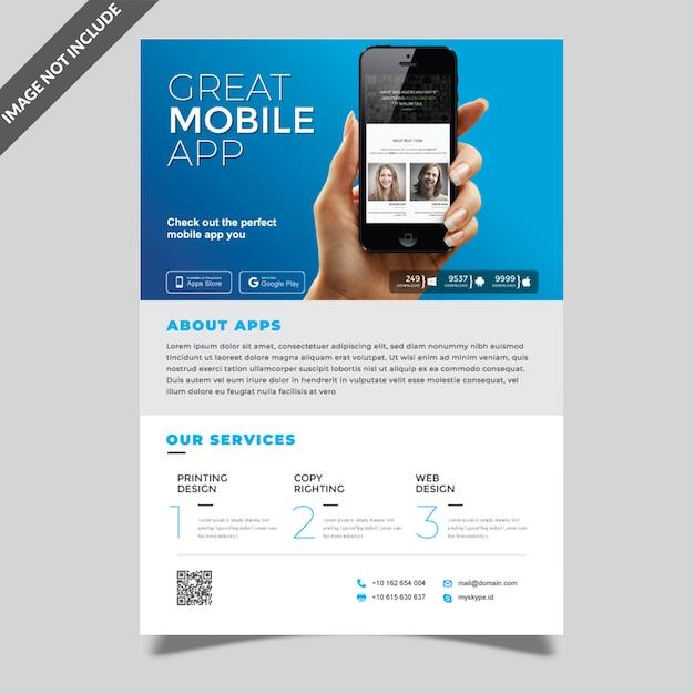 Modelo de folheto de aplicativo móvel Vetor Premium