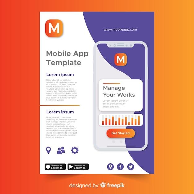 Modelo de folheto de aplicativo para dispositivos móveis Vetor grátis