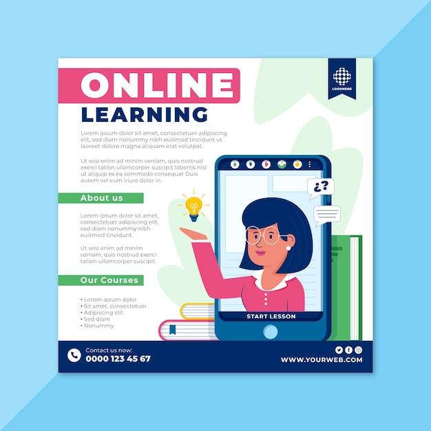 Modelo de folheto de aprendizagem online Vetor Premium