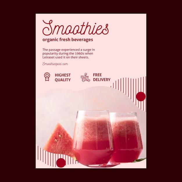 Modelo de folheto de barra de smoothies Vetor grátis