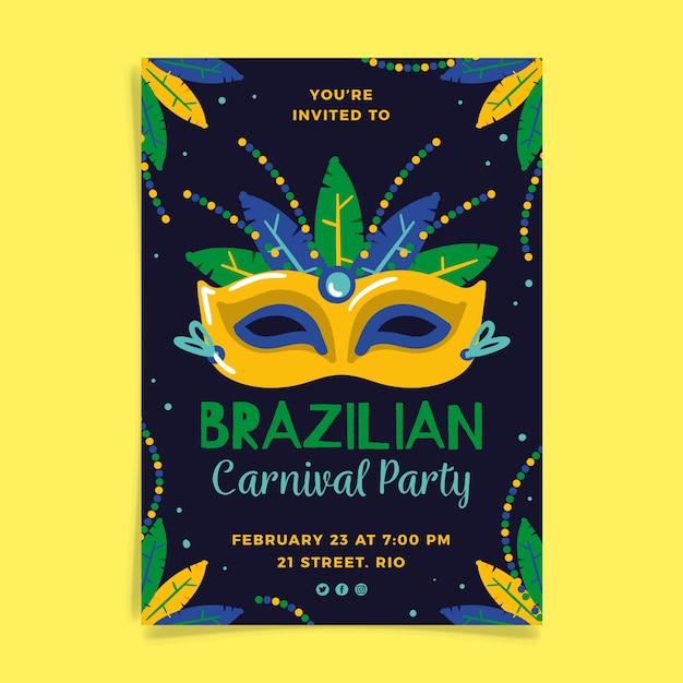 Modelo de folheto de carnaval brasileiro desenhado de mão Vetor grátis