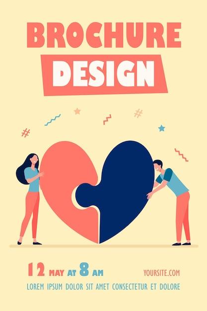 Modelo de folheto de casal feliz conectando coração Vetor grátis