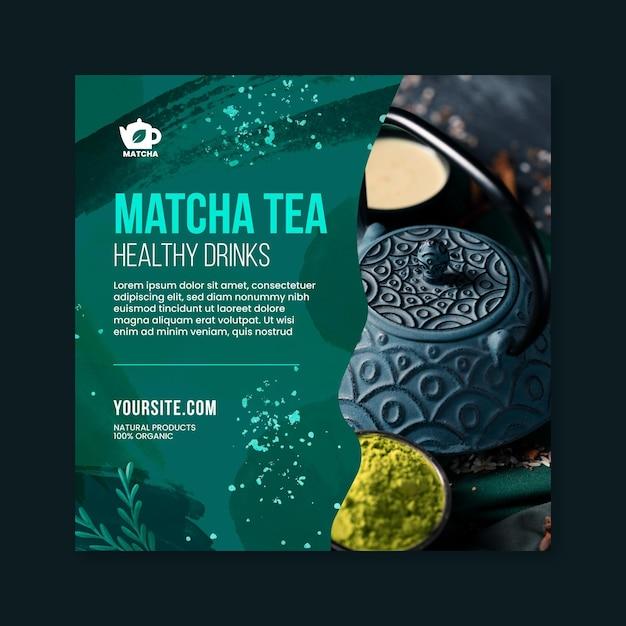 Modelo de folheto de chá matcha com foto Vetor grátis