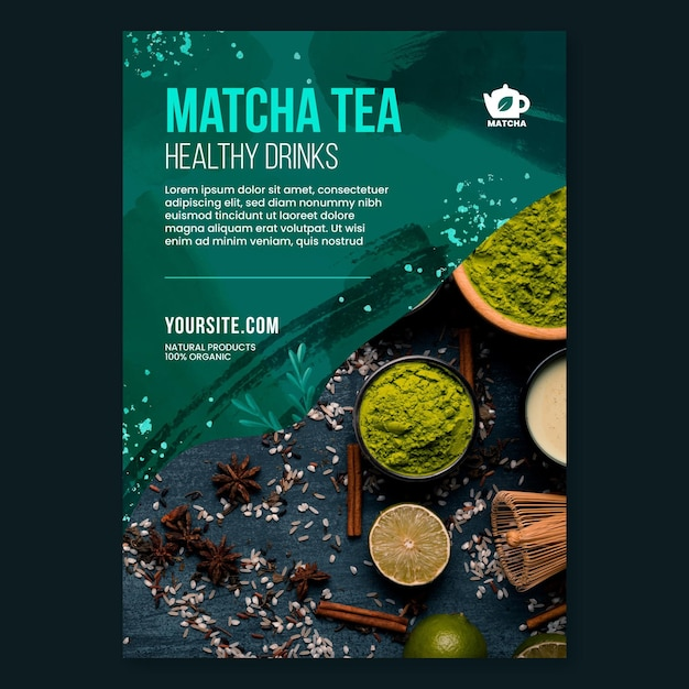 Modelo de folheto de chá matcha Vetor grátis