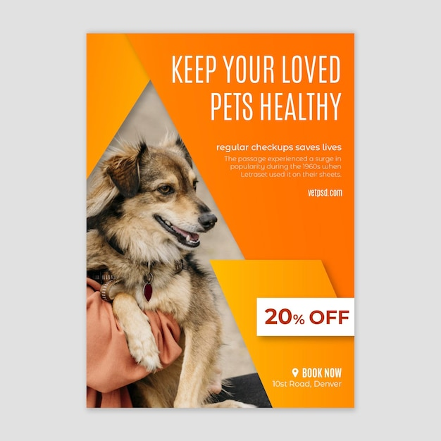 Modelo de folheto de clínica veterinária de animais saudáveis Vetor grátis