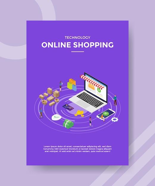 Modelo de folheto de compras online de tecnologia Vetor grátis