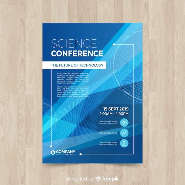 Modelo de folheto de conferência de negócios abstrato plana Vetor grátis
