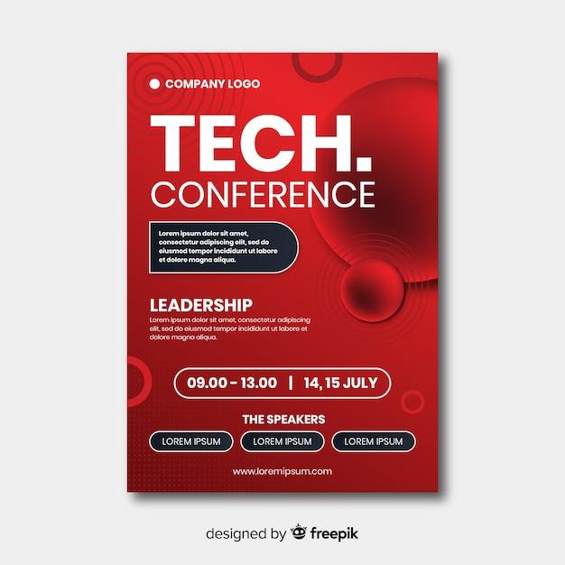 Modelo de folheto de conferência de negócios plana Vetor grátis
