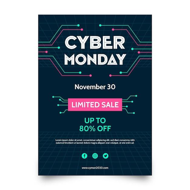 Modelo de folheto de cyber segunda-feira de design plano Vetor grátis