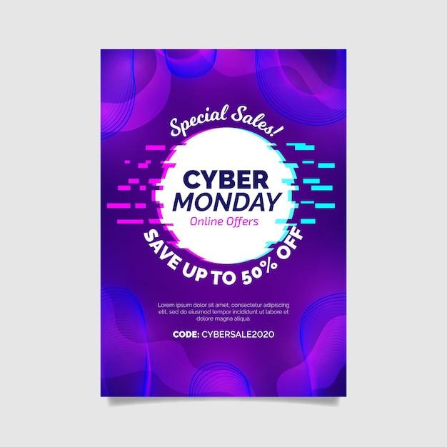 Modelo de folheto de cyber segunda-feira de glitch Vetor Premium