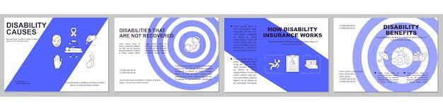 Modelo de folheto de deficiência não recuperado. beneficios desabilitados. Vetor Premium