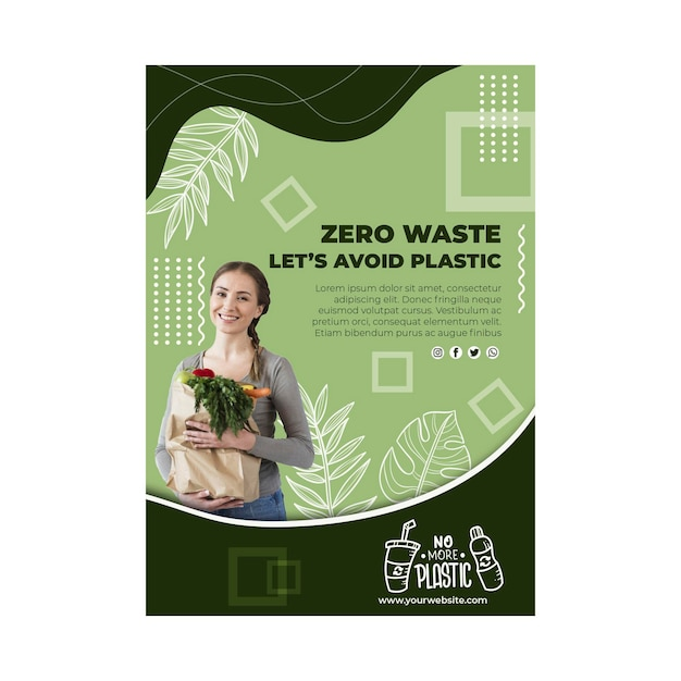 Modelo de folheto de desperdício zero Vetor Premium
