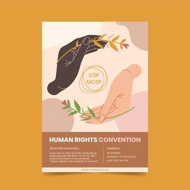 Modelo de folheto de direitos humanos Vetor grátis