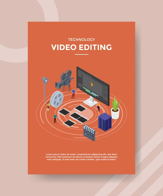 Modelo de folheto de edição de vídeo de tecnologia Vetor grátis