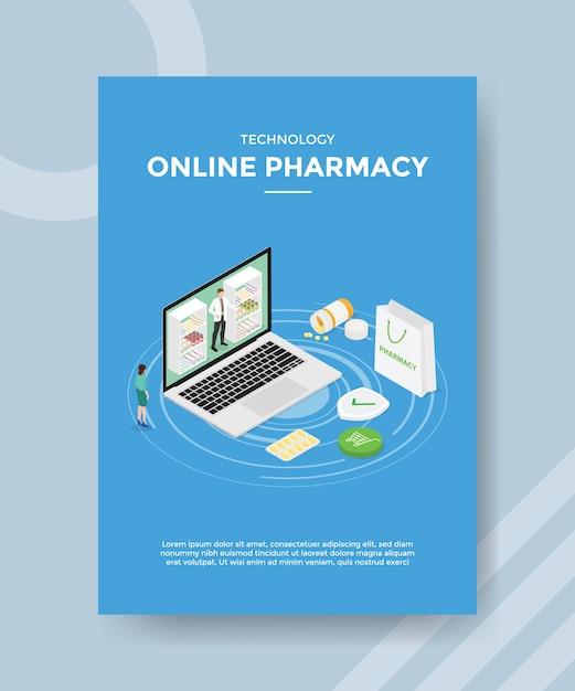 Modelo de folheto de farmácia online de tecnologia Vetor grátis