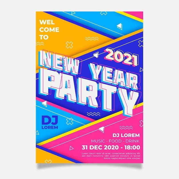 Modelo de folheto de festa de ano novo 2021 em design plano Vetor grátis